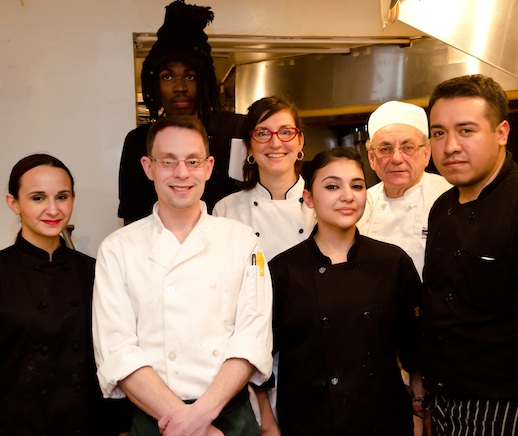 Chef Melissa Muller Daka with her team in the James Beard House Kitchen