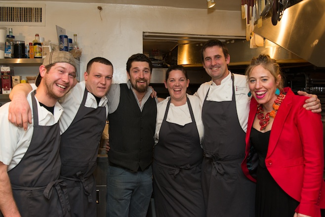 Rogan and Abby Lechthaler with their team in the James Beard House Kitchen