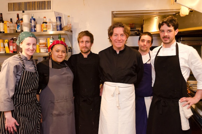 Chef Tim Wiechmann with his team at the James Beard House Kitchen