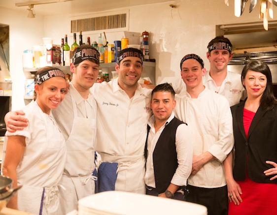 Chef Jimmy Bannos Jr. and his team at the James Beard House Kitchen