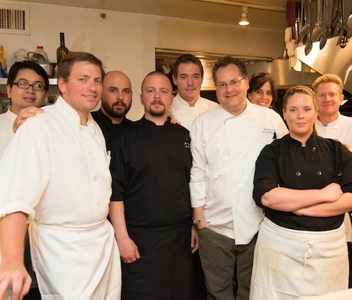 Richard Beichner and his team in the Beard House kitchen