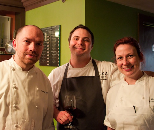 Chefs Giuseppe Tentori, Carl Shelton, and Sarah Jordan at the Beard House