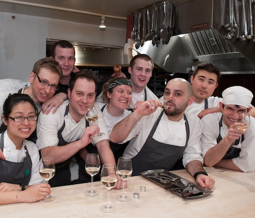Chef Michael Santoro, General Manager/Partner Michael Dorris, and their team at the Beard House