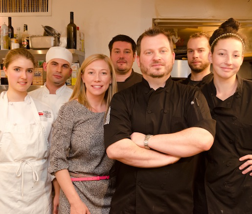 Chef Cullen Campbell and his team in the Beard House kitchen