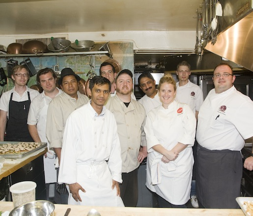 The D.C. chef team in the Beard House kitchen
