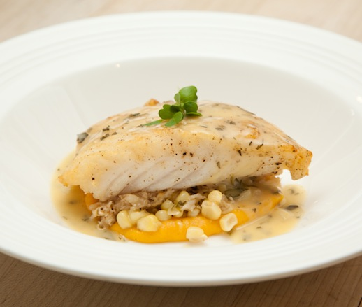South Carolina Scamp Grouper with Sweet Corn, Crab, and Tarragon