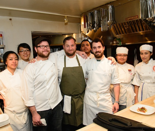 Chef Chris Miller with his team at the James Beard House Kitchen