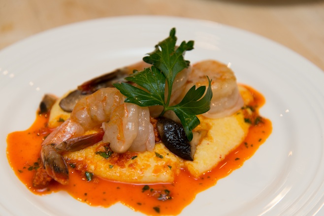 Gulf Shrimp and Grits with Plymouth Artisan Cheese Cheddar– Piment d'Espelette Grits, Tangled Roots Farm Shiitake Mushrooms, and House-Cured Nduja Sausage