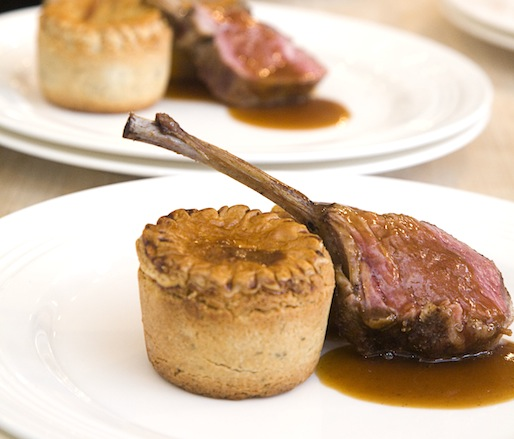Haggis Pie with Roasted Rack of Lamb, Neeps and Tatties, and Whiskey Butter Sauce