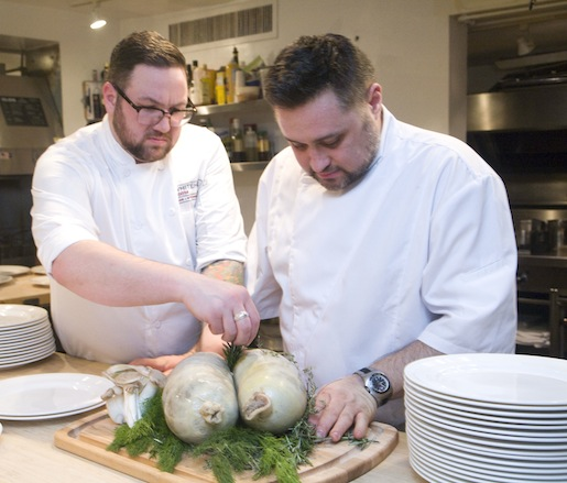Chefs Ryan Butler and Chris Rendell preparing Haggis