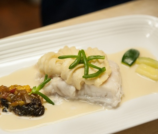 Braised Halibut with Vegetable Chutney and Natural Jus