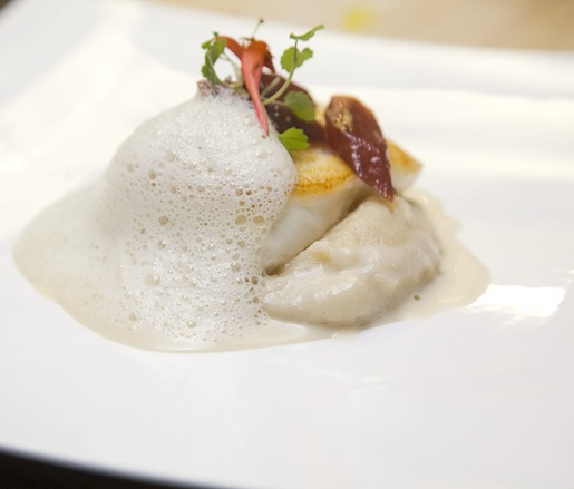Alaskan Halibut with Salsify Mousse, Kriek Lambic Reduction, Endive Cappuccino, and Malpeque Oyster