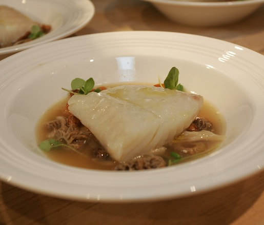 Steamed Atlantic Halibut with Mushroom–Lemon Fumet