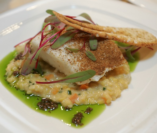 Slow-Roasted Halibut with Moroccan Spices, Sweet Yellow Lentils, Tapenade, and Coriander Tuile