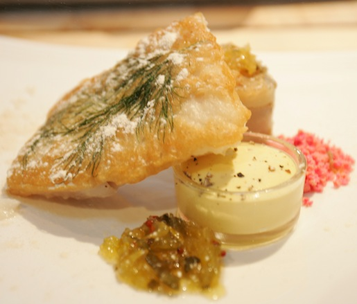 Dill and Beer–Crusted Cod with Deconstructed Duck Egg Tartare and Crispy Olive Oil Frites with Sea Salt and Malt Vinegar Powder