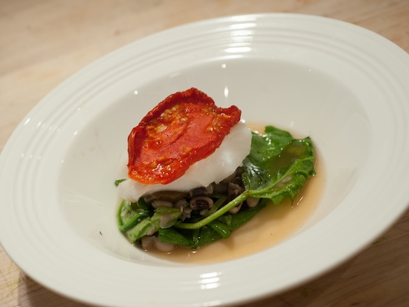 Tomato-Poached Halibut with Spinach, African Blue Basil, Shell Beans, and La Quercia Ham Broth