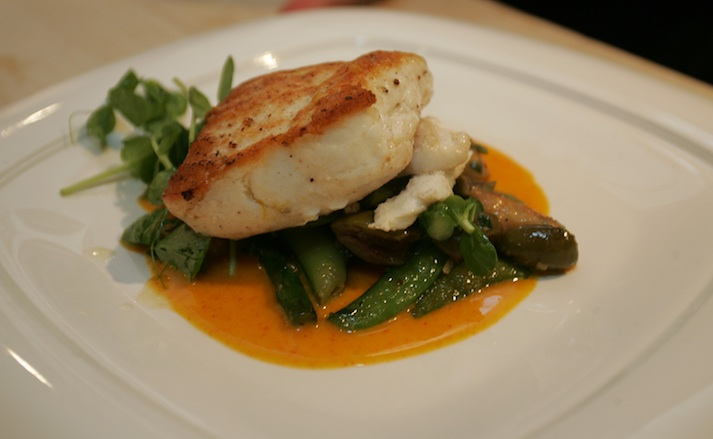Meyer Lemon–Dusted Channel Islands Halibut with Tarragon Gnocchi, Pea Shoots, Arbequina Olives, and Asparagus with Carrot Butter