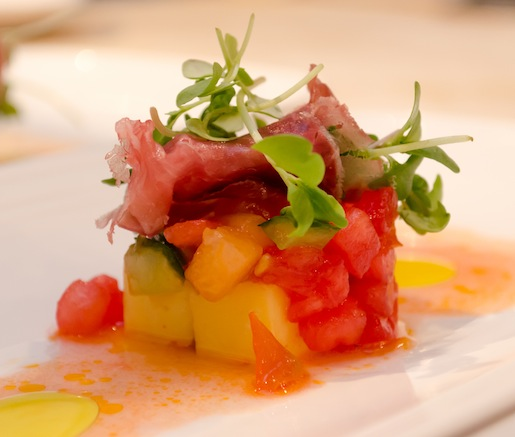 Barbecued Dry Ridge Farm Ham with Heirloom Tomatoes, Cucumbers, Watermelon, Cantaloupe, Micro-Basil, Looking Glass Creamery Ridgeline Cheese, and Celtic Sea Salt