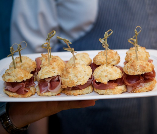 Cheddar Biscuits with Ham and Pepper Jelly