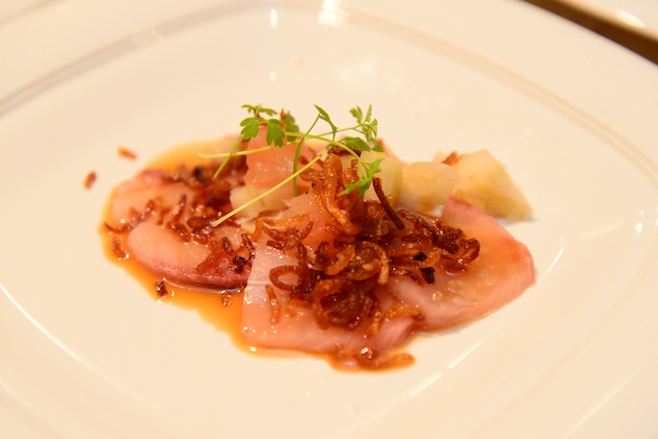 Hamachi Crudo with Dogfish Head Sixty-One Reduction, Beer-Pickled Fennel, Crispy Shallots, and Citrus