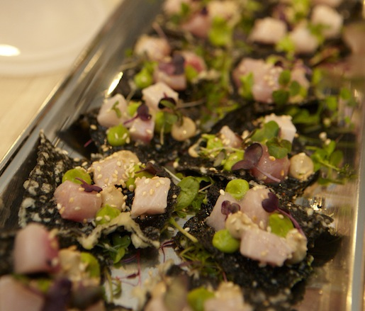 Albacore and Avocado on Seaweed Crackers