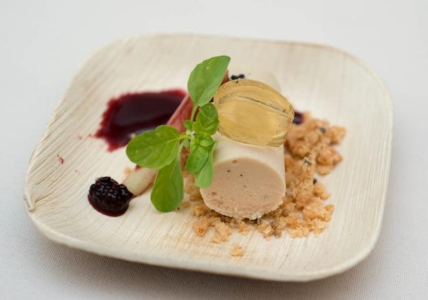 Foie gras mousse with honeysuckle gelée and wild blackberries from Chris Hastings