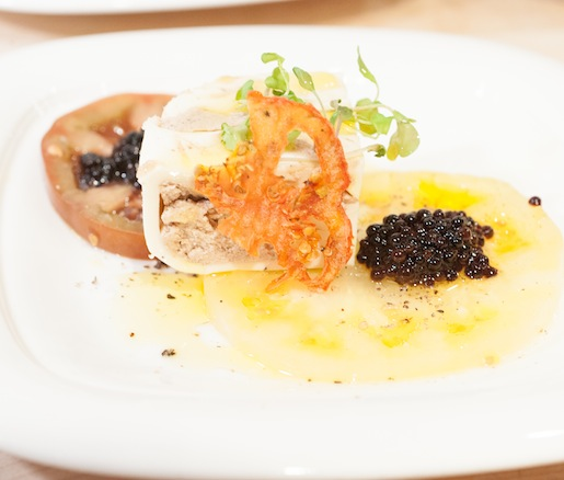 Heirloom Tomatoes and Hudson Valley Foie Gras Mousse–Filled Burrata with 25-Year-Old Balsamic Caviar Pearls
