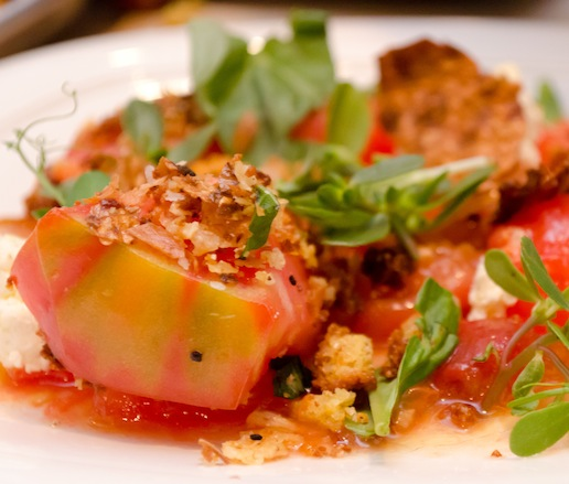 Heirloom Tomato Salad with Fried Sunchoke Skin, Brown Butter, and Cornbread