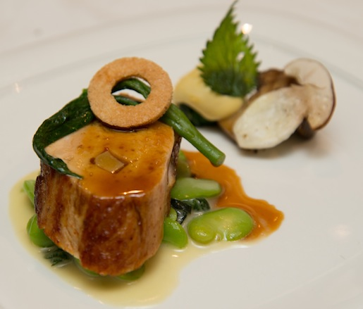 Nettles and Daylilies with Oregon Porcini–Stuffed Guinea Hen, Fava Beans, and Poached Quail Egg