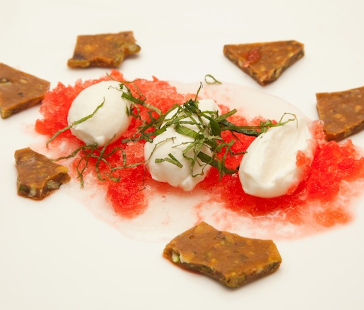Watermelon Ice with Lemon Balm, Sweet Ricotta, and Pistachio Brittle