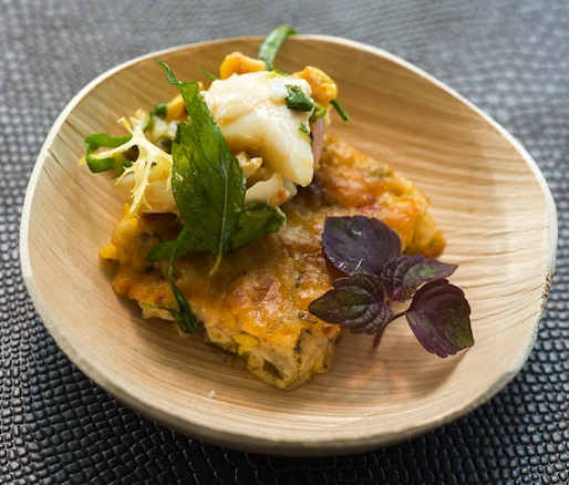 Junoon's spiced crab salad with smoky curry leaf–corn pudding