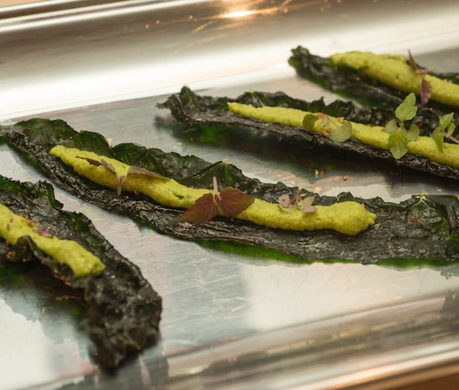 Grilled Kale Chips with Purple Shiso, Black Cumin, and Shell Bean Hummus