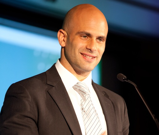 White House chef and senior policy advisor Sam Kass introducing Wendell Berry