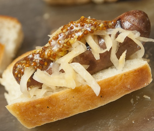 Knackwurst with Foggy River Farm Rutabaga Sauerkraut and Pickled Mustard Seeds