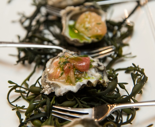 Kumamoto Oysters with Champagne Mignonette and Ruby Red Grapefruit