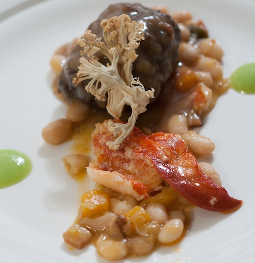 Barolo-Sous Vide Lamb Cheeks and Lobster Knuckles with Great Northern Bean–Butternut Squash Cassoulet and Cauliflower Chips