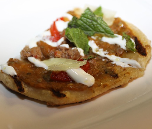 Lamb Sausage Flatbread with Eggplant, Manchego, Peppers, and Garlic Yogurt