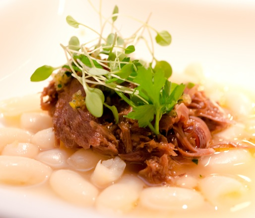 Braised Fallon Hills Ranch Lamb Shank with Lemon-Stewed Cannellini Beans and Lavender–Mint Gremolata