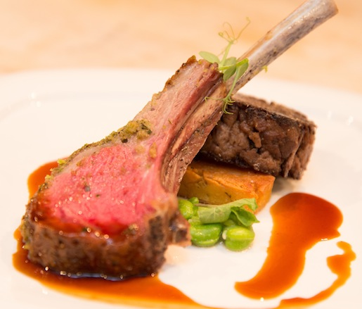 Colorado Grass-Fed Lamb > Roasted Rack and Braised Shoulder with Minted Spring Pea Medley and Sautéed Panisse