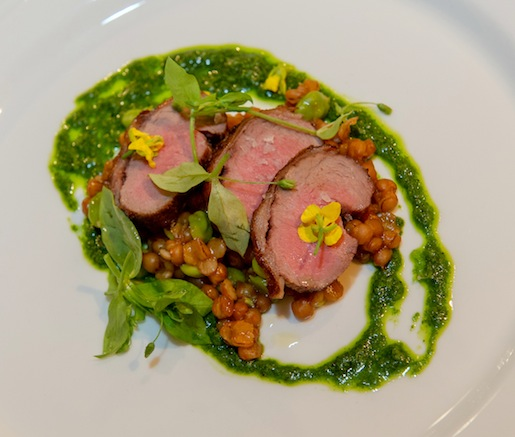 Ras el Hanout–Spiced Border Springs Farm Lamb with Pickled Tongue, Ramps, and Chickpeas