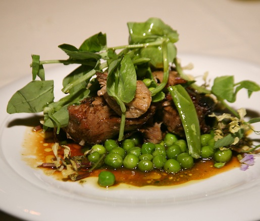 Roasted Baby Lamb with English Peas, Sugar Snap Peas, and Sorrel Salsa Verde