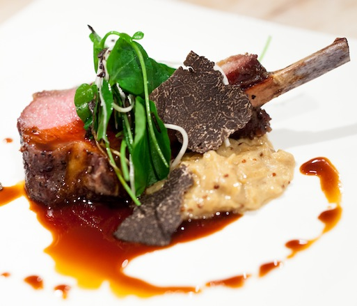 Strauss Lamb with Mustard–Onion Compote, Cress–Celery Root Salad, and Black Truffles