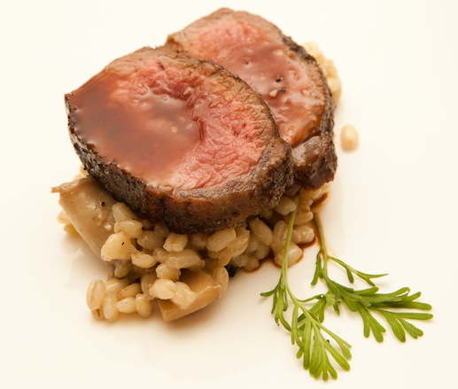 Colorado Lamb Rib-Eye with Orzo Perlato, Wild Mushrooms, and Lavender