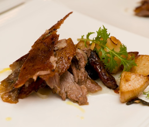 Whole-Roasted Lamb with Medjool Dates, Turnips, and Almonds
