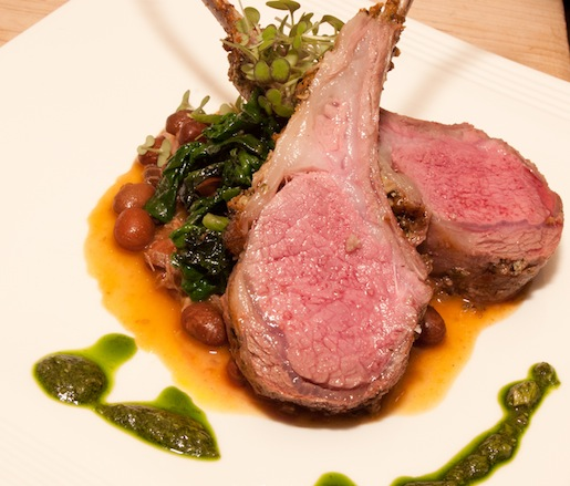 Herb–Mustard Lamb Chops with Thane Palmberg Farm Spinach, Good Mother Stallard Beans, and Salsa Verde