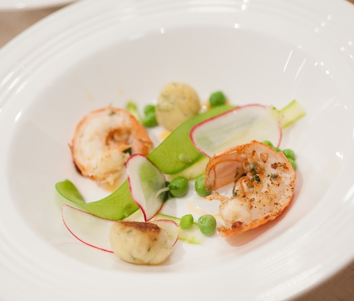 Flavors of Spring > Roasted Langoustines with Chervil Dumplings and Buttermilk