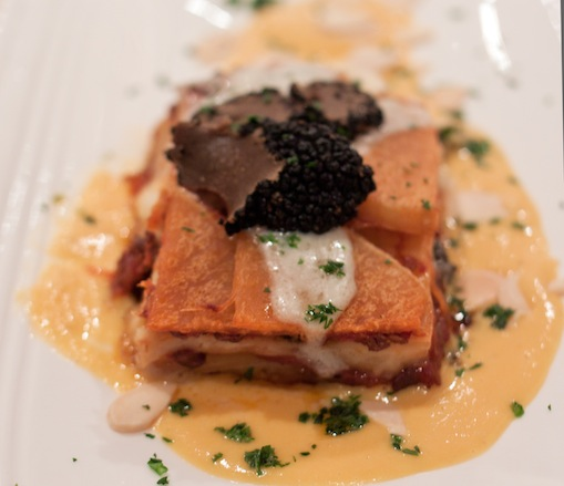Umbrian Lasagna with Duck Ragoût, Sweet Turnips, Black Truffles, Pumpkin Fondue, and Toasted Almonds