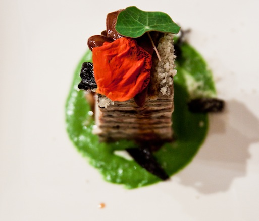 California Poultry Lasagna with Black Trumpet Mushrooms and Nasturtium Pesto