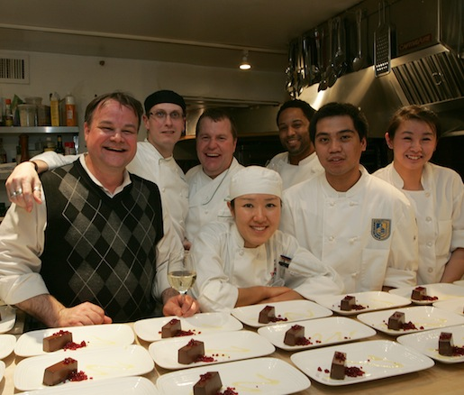 Chef Tim Partridge with members of his team in the Beard House kitchen