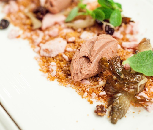 Smoked Liver Mousse with Maitake, Currant, and Purslane